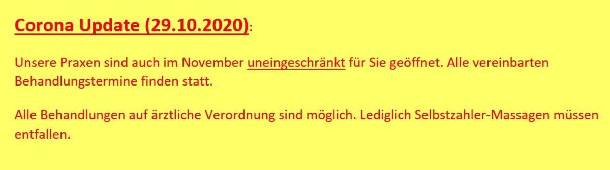 ALTAVIT Physiotherapie München Corona Update 20201029