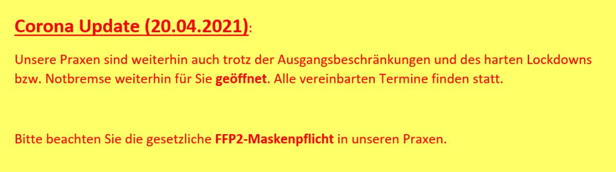 ALTAVIT Physiotherapie München Corona Update 20210420